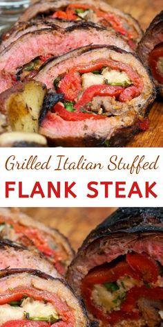 Italian Meat Dishes, Italian Dinner Recipes, Easy Dinner Recipes, Easy Dinners, Traeger Recipes, Grilling Recipes, Beef Recipes, Flank Steak Recipes, Grilled Steak Recipes