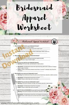 Free download.  Questions to help you decide what kind of dresses and accessories you want for your bridesmaids. Inexpensive Bridesmaid Dresses, Mismatched Bridesmaid Dresses, Bridesmaids, Wedding Checklist Printable, Wedding Checklists, Wedding Planner Binder, Wedding Planners, Wedding To Do List, Wedding Planning Timeline