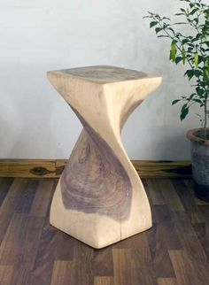 X Single Twist Wood Stool   Natural Wood Decor