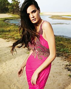 Monisha Jaising hot Pink Bridal Sari