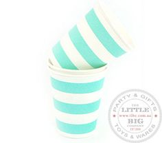 Light blue striped paper cups | Paper Cups | Party Collection | The Little Big Company Pty Ltdparty, glass bottles, swizzle sticks, beverage dispenser, birthday, gift, rock candy