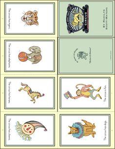 circus cards free printables