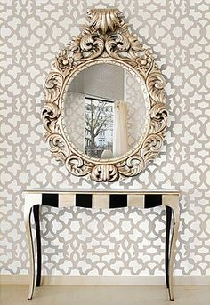 accent wall Inspiration - what about wallpapering the entry wall into the master?