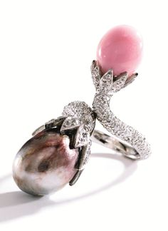 Platinum, Natural Pearl, Conch Pearl and Diamond Ring - Sotheby's