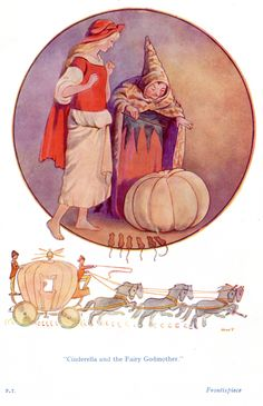 "Cinderella - An illustration by Margaret Tarrant from 'Fairy Tales' available on  http://www.amazon.com/gp/product/1473319315/ref=as_li_tl?ie=UTF8&camp=1789&creative=9325&creativeASIN=1473319315&linkCode=as2&tag=reaboo09-20&linkId=CM6UHP6E2SRGUPV7     ""Cinderella and the Fairy God Mother"""
