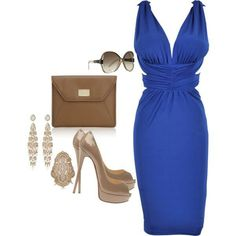 How to accessorize a blue dress
