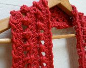 SALE: Long Red Crimson Scarf Great for Autumn & Winter Scarf, Acrylic knit Crocheted Hairpin Lace, for women and teens. (tinybitsofcraft.etsy.com)