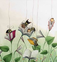 Art i lectura / Arte y lectura / Reading and art / Lecture et art / Lettura e arte / A leitura ea arte I Love Books, My Books, Book Art, Wallpaper Fofos, School Murals, Ecole Art, Reading Art, Library Design, Bees Knees