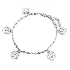 Filigree 925 Sterling Silver Rose Flower Charm Bracelet 7.5in