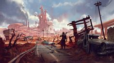 Check out some Fallout 4 Fan Art in our latest Inspiration Collection Series, enjoy some of the best from the community! Apocalypse Landscape, Apocalypse Art, Apocalypse Aesthetic, Landscape Concept, Fantasy Landscape, Fallout 4 Fan Art, Post Apocalyptic Art, Environment Concept Art, Environmental Art