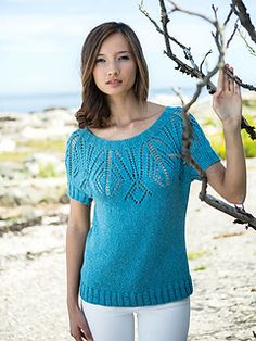 607d6e02f582c1 Peacehaven is a geometric lace t-shirt knit in the round from the top down