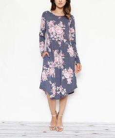 Navy & Pink Floral Pocket Midi Dress