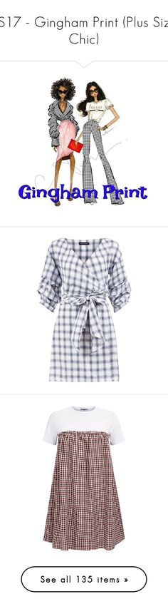 """""""SS17 - Gingham Print (Plus Size Chic)"""" by foolsuk ❤ liked on Polyvore featuring shoes, sandals, canvas slip on shoes, canvas sandals, strappy sandals, slip on sandals, studded thong sandals, shorts, summer shorts and red shorts"""