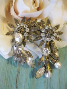 Vintage Antiqued Baroque Pearls Rinestones by Sisters2Vintage, $65.00