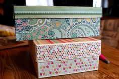 How to cover a shoe box with paper, using modge podge.