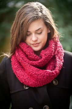 Raspberry Infinity Scarf -- 64 inches (163cm) around by 8 inches  (20cm) wide
