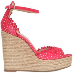 Tabitha Simmons Women 130mm Lace Effect Leather Wedge Sandals ($305) ❤ liked on Polyvore featuring shoes, sandals, wedges, coral, platform sandals, leather shoes, high heel sandals, platform wedge sandals and platform shoes