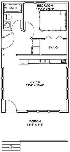 18x30 Tiny House -- 540 sq ft -- PDF Floor Plan - Model 4D