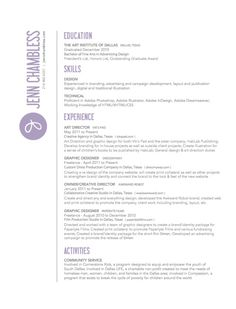 56 best resume styles images on pinterest design resume resume jenn chambless art director cv love how the basic point are really obvious spiritdancerdesigns Choice Image