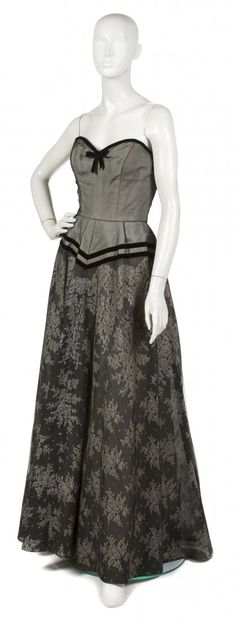 Hattie Carnegie Black Lace Ball Gown,  1950s
