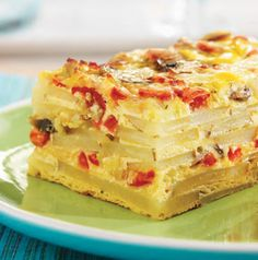 Fontina Potato Strata is so pretty! It's delicious too. Fabulous for brunch or a light dinner served with turkey sausage patties and a fruit salad.