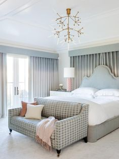 Take a Seat: Master Bedroom Sitting Area Ideas - Modern Tan Bedding, Grey And White Bedding, Blue Master Bedroom, Master Bedrooms, Metal Canopy Bed, Girl Bedroom Designs, Bedroom Ideas, Bedroom With Sitting Area, Grey Headboard
