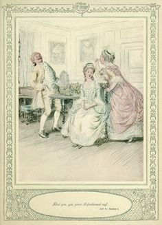 """23. MRS. HARDCASTLE: """"And you, you great ill-fashioned oaf."""" — ACT IV. SCENE I. (p.165) —   Hugh Thomson Illustrations: She Stoops to Conquer by Oliver Goldsmith"""