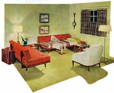 Living room sofas that double as guest beds, 1960