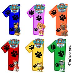 Números personalizados Patrulha canina- *1 Paw Patrol Names, Paw Patrol Stickers, Paw Patrol Pups, Paw Patrol Party, Paw Patrol Birthday, 1st Birthday Banners, Baby Boy 1st Birthday, Diy Gumball Machine, Paw Patrol Cake Toppers