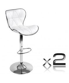 2 PU Leather Bar Stool - White