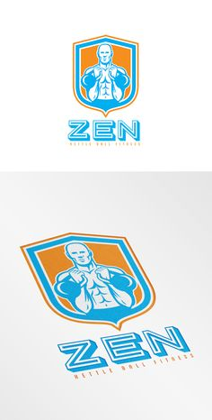 Zen Kettle Bell Fitness Logo. Logo showing illustration of a weightlifter lifting kettlebell set inside shield crest on isolated background done in retro style. 100% re-sizeable vectors.