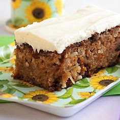 Grandma's Pineapple Carrot Cake. Sometimes special cakes come in 9x13 inch pans with messy cream cheese frosting.