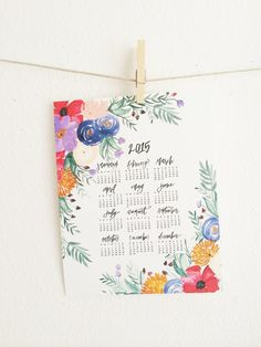 Floral 2015 Wall Calendar  Watercolor by ShannonKirsten on Etsy