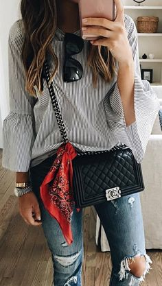 fall outfit ideas / striped shirt + ripped denim