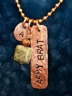 Army Brat Stamped Copper Tag Necklace with by NaturalCharm on Etsy, $30.00