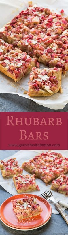 Let the tangy flavor of rhubarb shine through with these easy, one-bowl Rhubarb Bars! ~ www.garnishwithle...