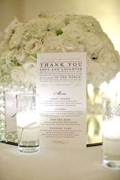 exactly what I was thinking but maybe 2 sided...menu + thank you for reception table settings