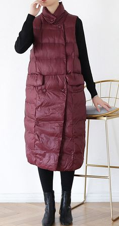thick plus size warm winter coat stand collar winter coats burgundy sleeveless Parkas for women Winter Coats, Fall Winter, Autumn, Plus Size Down Coats, Baggy Dresses, Spring Dresses Casual, Fashion Coat, Coat Stands, Womens Parka