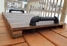 Industrial Pipe and Rustic Reclaimed Tobacco Stick Wood Serving Tray by GrizzlyBearCreations on Etsy