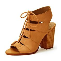 23fd958977a824 YDN Women Stacked Heel Peep Toe Sandals Booties Ankle Gladiator Shoes Lace  Up Size 85 -- Read more at the image link.