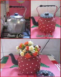Tin Can Crafts, Diy And Crafts, Teapot Crafts, Decoupage Furniture, Milk Cans, Recycled Crafts, Bottle Crafts, Diy Gifts, Tea Party