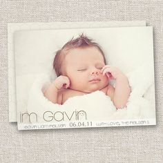 Modern Birth Announcement, Baby Girl Announcement, Baby Boy Birth Announcement, Photo Card, Photo Announcement. $14.95, via Etsy.