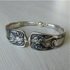 Antique Silver Spoon Bracelet  Siren 1891 by Revisions on Etsy