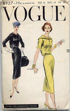 Vogue 8927 | 1956 one- piece dress