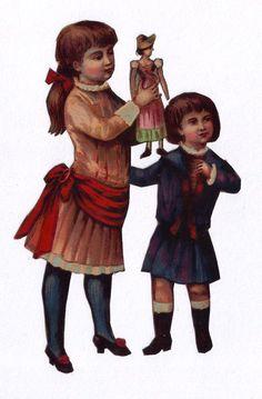 Victorian Children w Doll Scrap Authentic 1800s Paper Ephemera Antique Scrapbook picclick.com