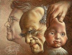 Poen de Wijs portretteerde 3 generaties. Fred, de oude man en de baby