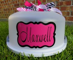 personalized cake carrier with chalkboard paint in same shape on back to write flavor....@Margaret Jones this is screaming for you to do. Chalkboard contact paper!