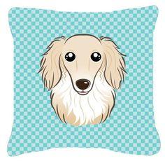 Checkerboard Longhair Creme Dachshund Indoor/Outdoor Throw Pillow