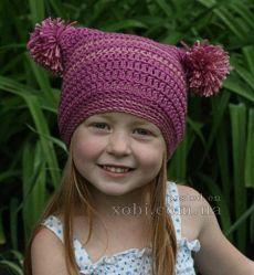 шапочка для девочки с помпонами вязаная крючком