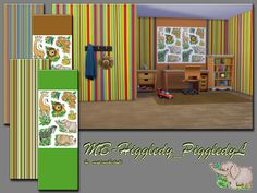 MB-Higgledy-Piggledy_L , cute kitten wallpapers one with stripes and one with sweet little animals, each comes in 3 lovely color ,  matching each other, own thumbnail included, created for Sims 4,...